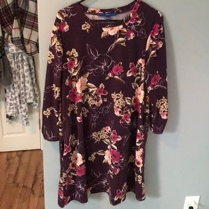 Apt. 9 Purple Floral Sweater Dress with Pockets